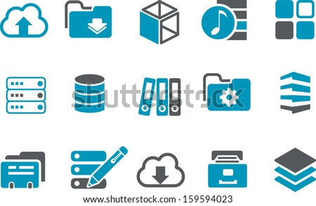 Vector icons pack - Blue Series, archive collection