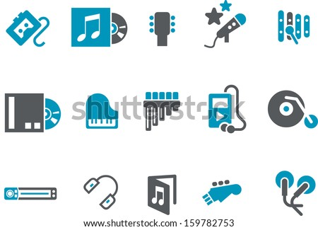 Vector icons pack - Blue Series, music collection