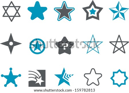 Vector icons pack - Blue Series, stars collection