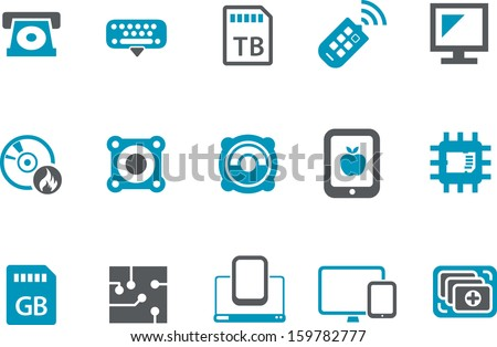 Vector icons pack - Blue Series, technology collection