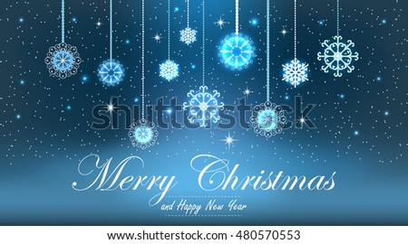 Vector illustration abstract Christmas Background. Snowflakes, night sky.