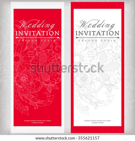 Vector illustration wedding invitation floral zentangl stock vector illustration banners cards wedding invitation with floral zentangl vertical red color stopboris Gallery