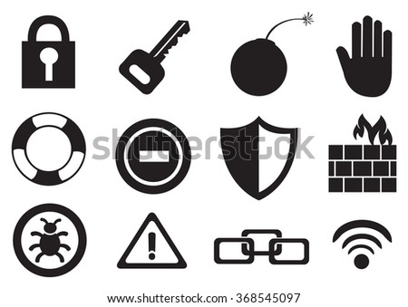 Flat Security Icons Long Shadows Vector 254928607