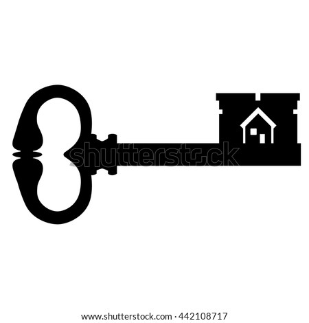 Contemporary Black House Key Vector Illustration Silhouette Of Old Vintage Antique With Symbol To Decorating Ideas