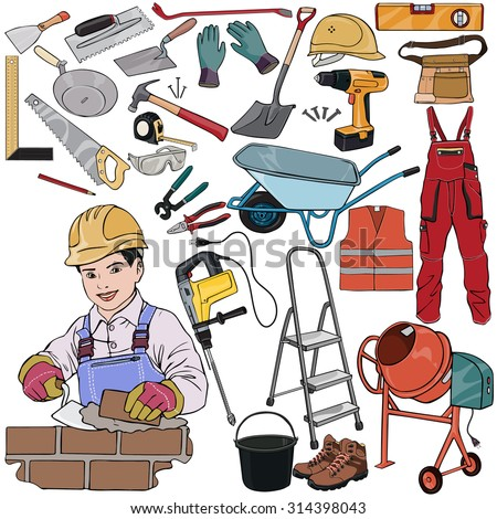 Vector illustration, builder gear, cartoon concept, white background.