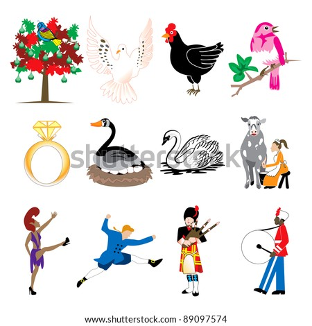 Vector illustration card of the 12 days of christmas icons in full