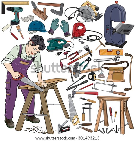 Vector illustration, carpenter gear, cartoon concept, white background.