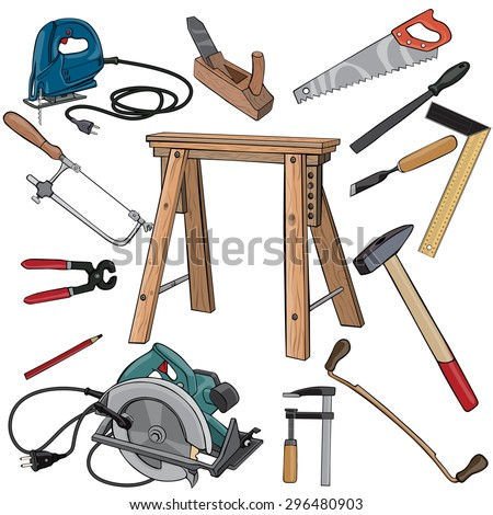 Vector illustration, carpenter tools, cartoon concept, white background.