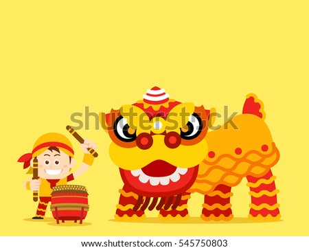 Vector illustration - Chinese New Year, Lion Dance