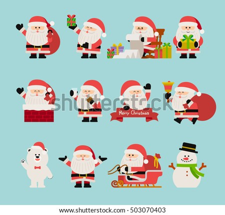 vector illustration - Christmas Character set of santa claus.