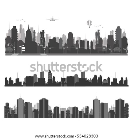 Vector illustration.City traffic and skyline silhouette