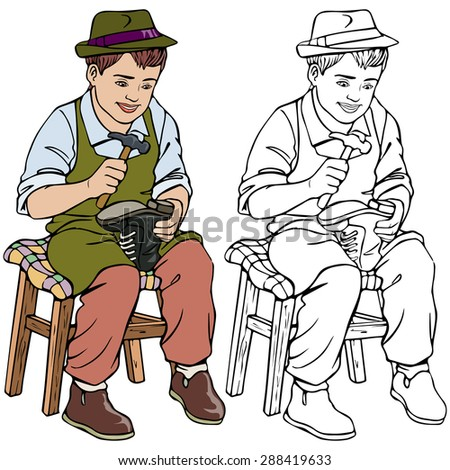 Vector illustration, cobbler, coloring drawing, card concept, white background.