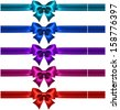 Vector illustration - collection of silk bows in dark colors with ribbons.Created with gradient mesh. - stock vector