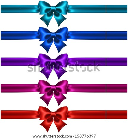 Vector illustration - collection of silk bows in dark colors with ribbons.Created with gradient mesh.