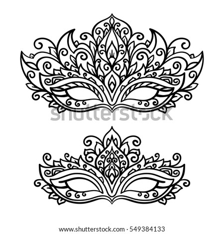 Vector Illustration Contor Mask Holiday Carnival Stock Vector