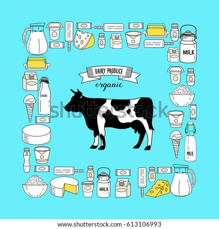 Poster Dairy Products Vector Illustration Holstein Stock ...