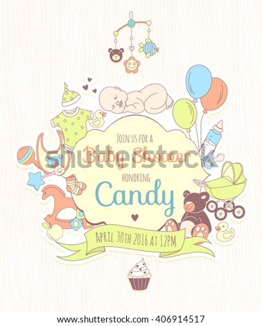 Happy easter poster invitation card background stock vector vector illustration cute baby shower invitation for boy or girl party invitation template stopboris Choice Image