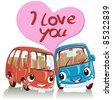 Vector illustration, cute cars full of love, card concept, white background. - stock photo