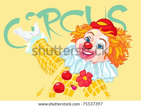 Vector illustration, cute clown inviting to circus, cartoon concept.