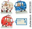 Vector illustration, cute smiling emergency cars with label, card concept, white background. - stock photo