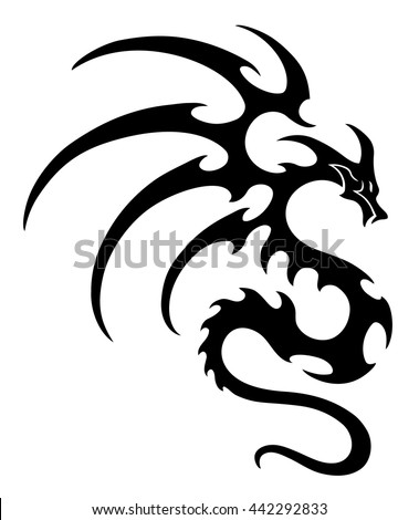 vector illustration, dragon design, black and white graphics.