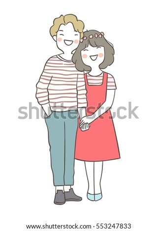 Vector illustration draw character design of cute young couple love in valentine day.Doodle style.