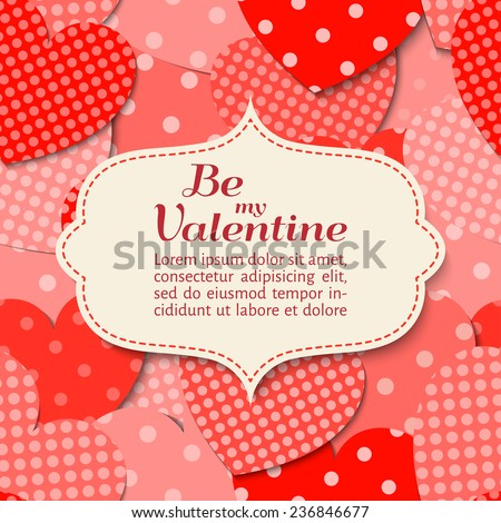vector illustration. Elegant paper scrapbook card with heart.  Valentines Day. Background pattern is seamless.