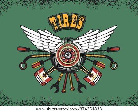 vector illustration emblem tire wheel with wings and instruments