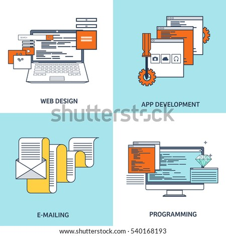 Vector Sets Lined Flat Backgrounds Coding Stock Vector