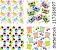 Vector illustration, graphics. Set of backgrounds for scrapbooking - stock vector