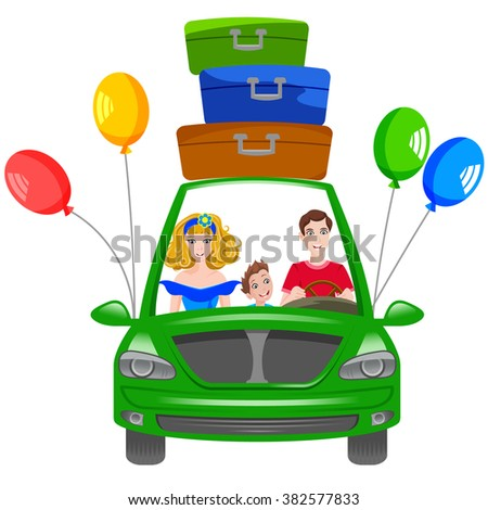 Vector illustration: happy family travel