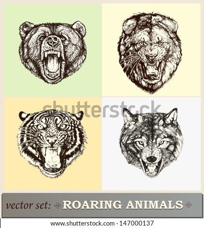 Vector illustration: heads of roaring animals