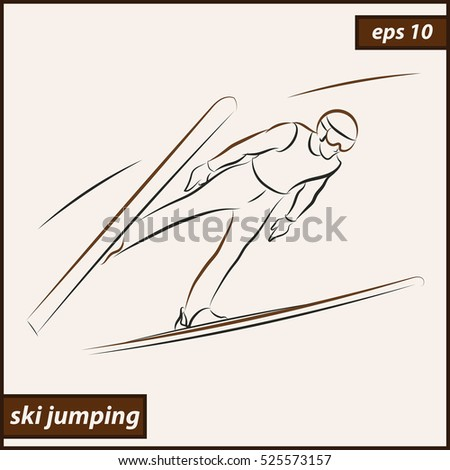 Vector illustration. Illustration shows a athlete performs a jump from a springboard to ski. Ski jumping. Winter sport