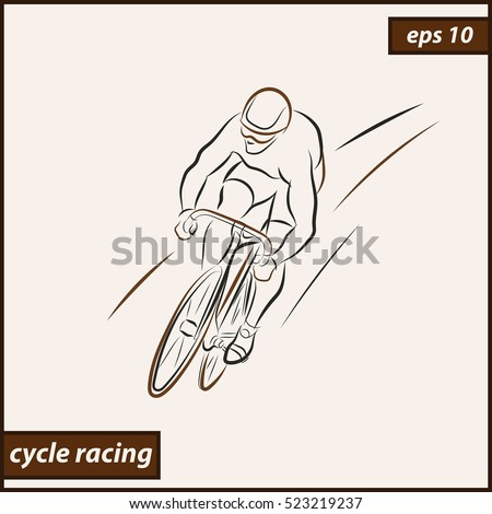 Vector illustration. Illustration shows a Cyclist in motion. Sport. Cycle racing