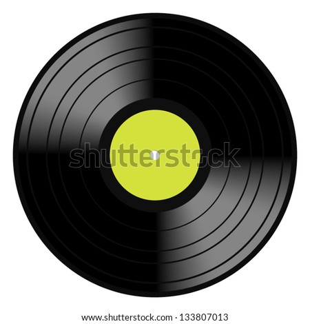 Vector illustration image of a vintage and analog 33 RPM LP vinyl disc record with blank green central label for your music copy, eps 8 with gradient mesh. Isolated on white.