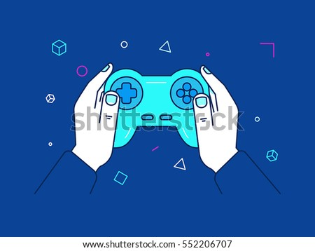 Vector illustration in trendy linear style and blue colors - cybersport and gaming online concept - hands holding console gamepad and screen with victory banner - winning competition