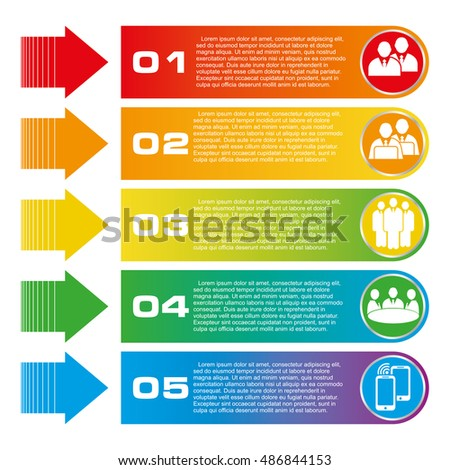 Vector illustration infographics five options. Template for brochure, business, web design. Business concept communication, meeting, work, money