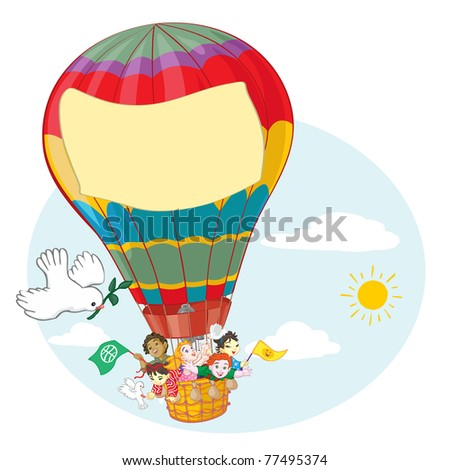 Vector illustration, kids traveling with balloon, banner concept.