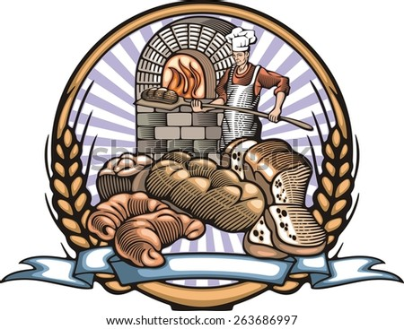 Vector illustration of a baker, baking bread in a fire oven, done in retro woodcut style.