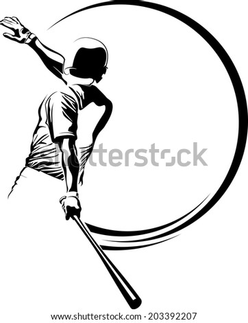 Vector illustration of a baseball batter hitting the ball out of the park.