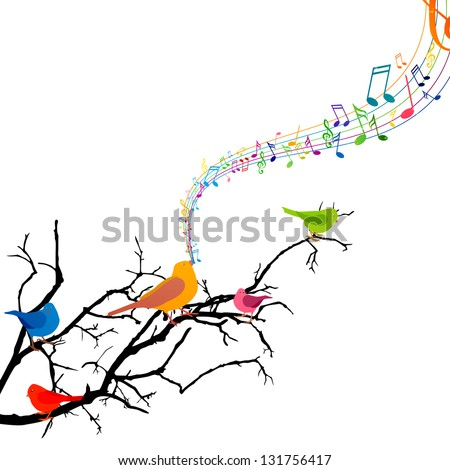 Vector illustration of a branch with singing birds stock vector