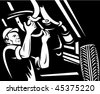 vector  illustration of a car mechanic working underneath a car done in black and white - stock vector