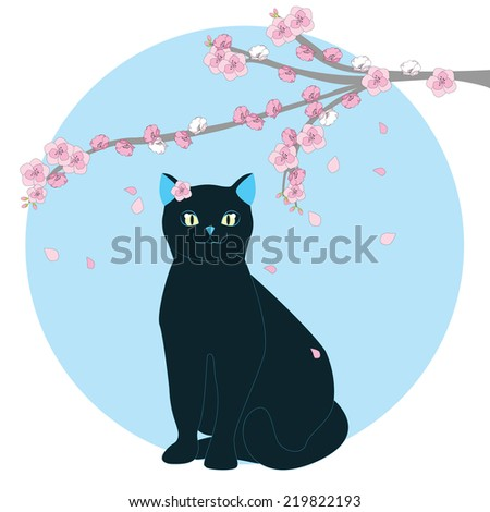 Vector illustration of a cat under a sakura tree on a blue background