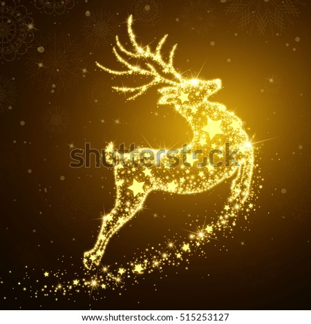 Vector Illustration of a Christmas Holiday Design with Sparkling Flying Deer