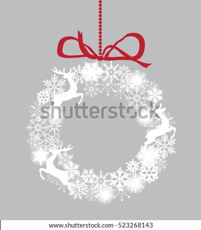 vector illustration of a Christmas wreath with snowflakes and reindeer