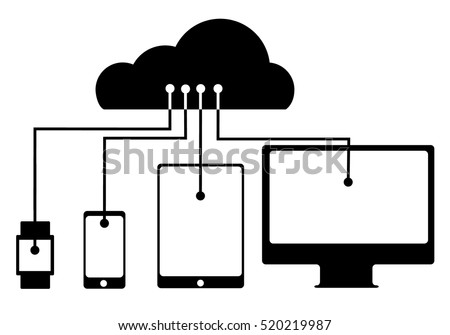 Vector illustration of a cloud connection watch, phone, tablet and computer