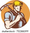 vector illustration of a Coal miner at work with pick ax done in retro woodcut style - stock photo