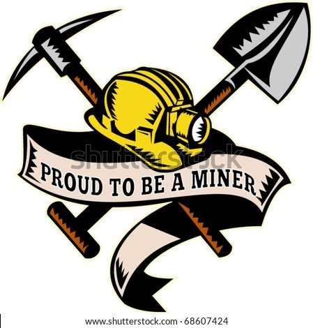 "vector illustration of a coal miner hardhat hat ,shovel or spade and pickax with scroll isolated on white done in retro woodcut style with words ""brothers in arms"""