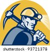 vector illustration of a coal miner working with pickaxe viewed from the side looking front isolated white background done in retro woodcut style. - stock photo