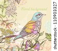 vector illustration of a colorful bird and blooming summer flowers - stock photo